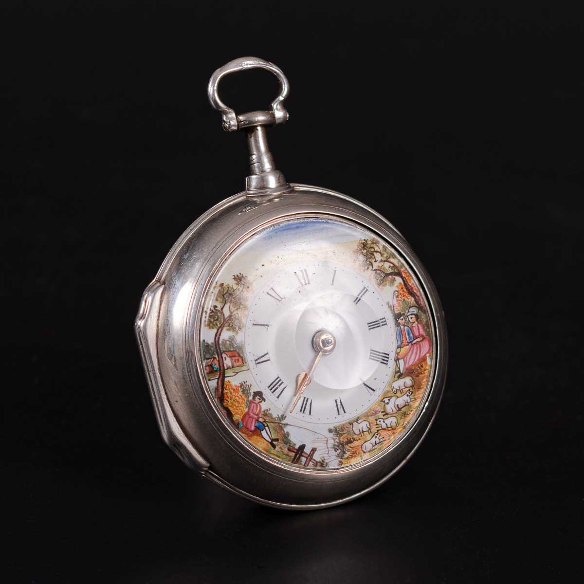Lot 201-A silver pair case pocket watch with coloured enamel dial.