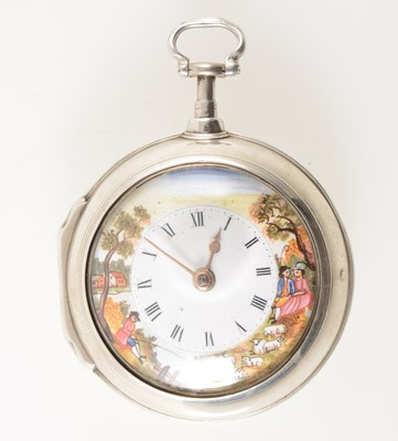 Lot 201 - A silver pair case pocket watch with coloured enamel dial.