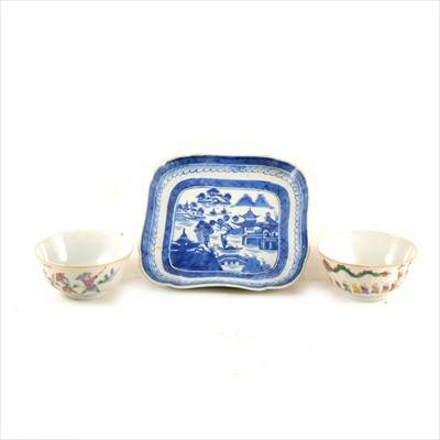 Lot 43-A pair of Chinese polychrome bowls and a blue and white dish.