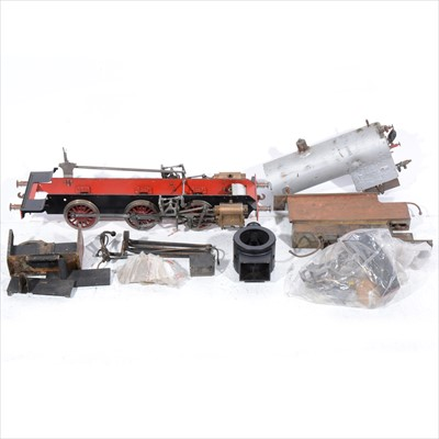 Lot 40-A part built 3.5 inch gauge model live steam locomotive; most parts appear to be there but is unchecked, comes with a bag of small parts and pieces.
