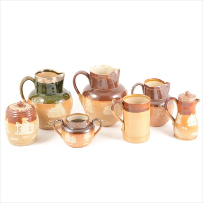 Lot 87-A collection of Doulton Lambeth stoneware Hunting Series jugs, tyg, tableware, etc