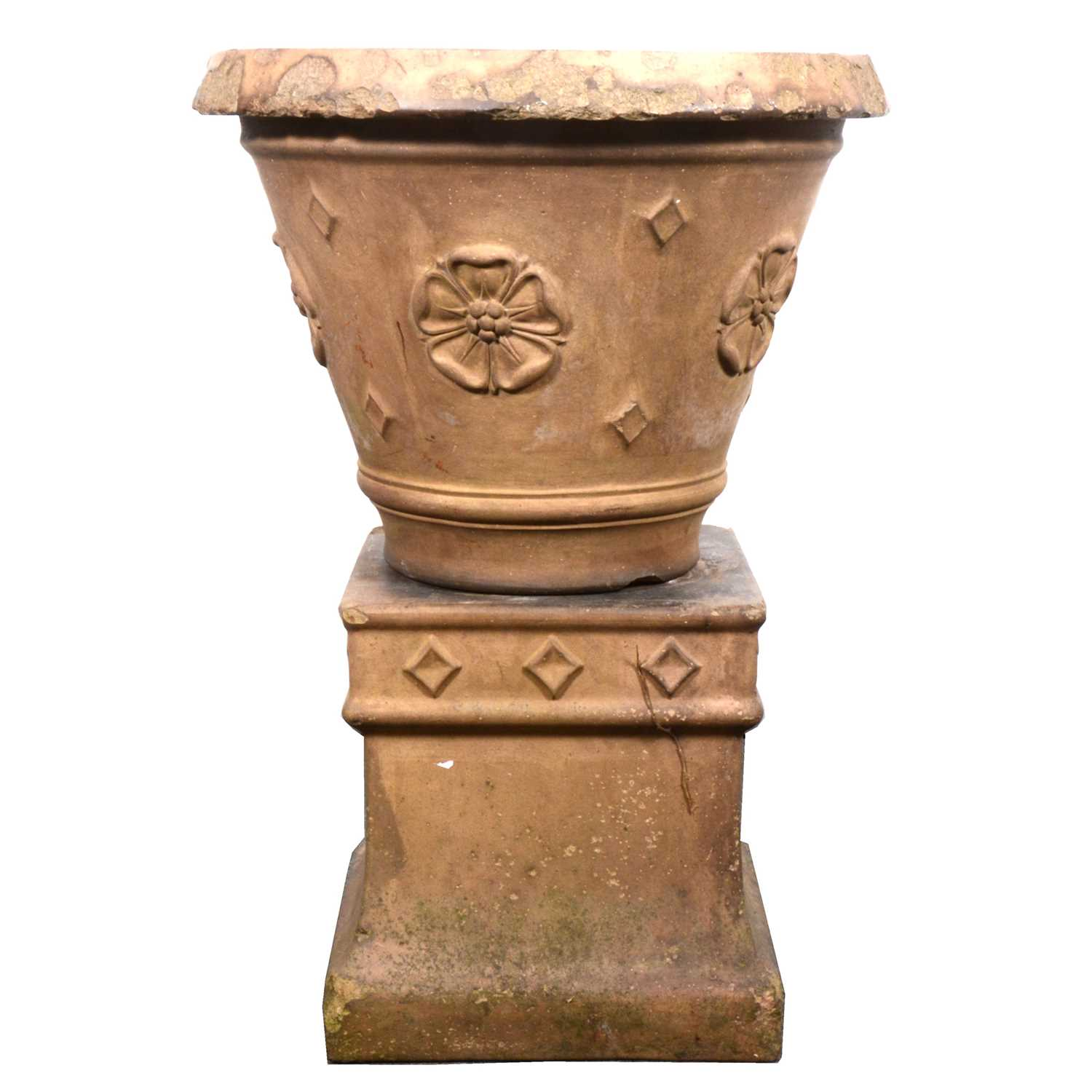 Lot 521-A terracotta garden planter on plinth by Doulton Lambeth