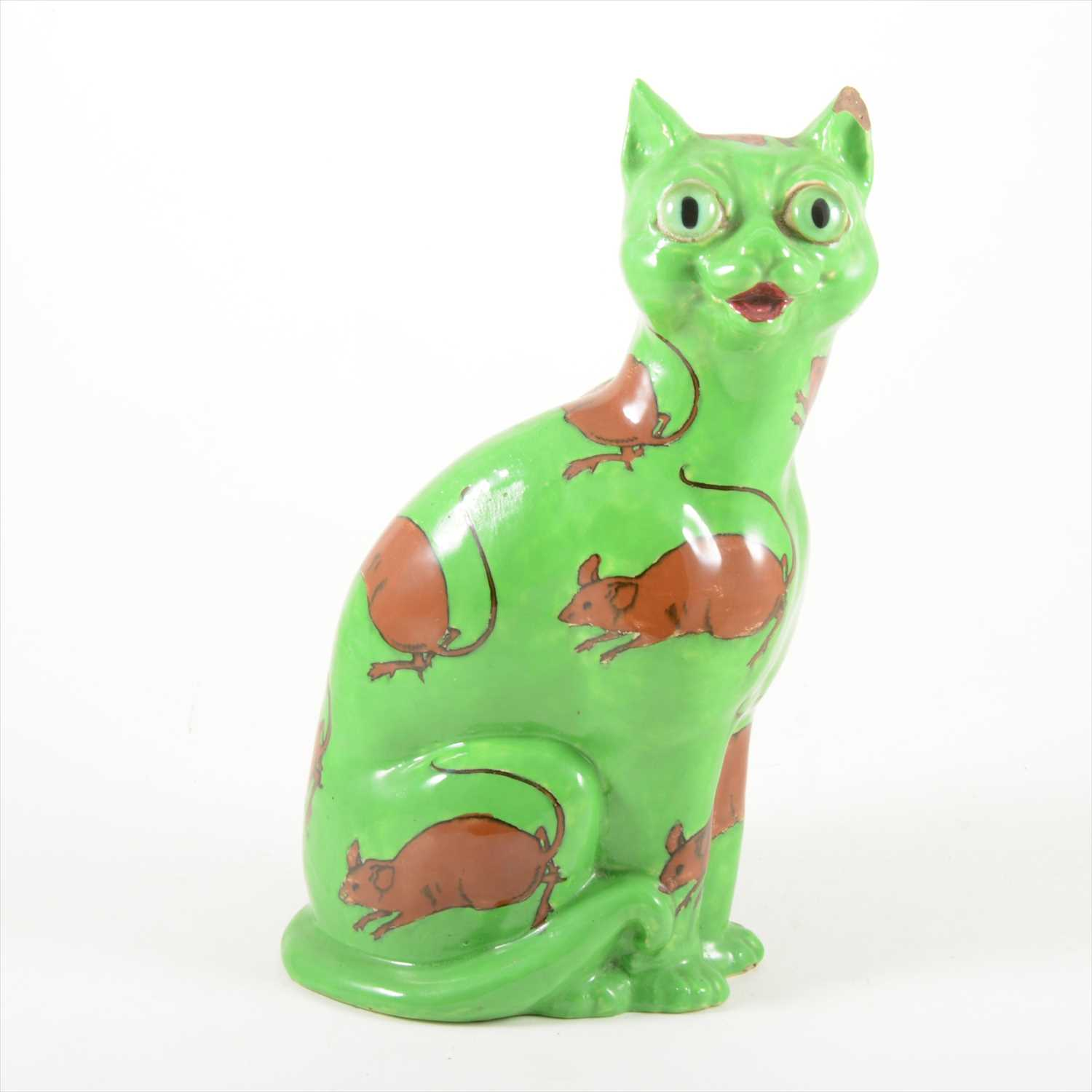 152A - A rare Foley 'Intarsio Ware' model of a Cat, attributed to Frederick Rhead for Wileman & Co. circa 1900