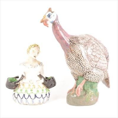 Lot 85-E Pollner, Guinea fowl, a studio pottery model, and a model of a child