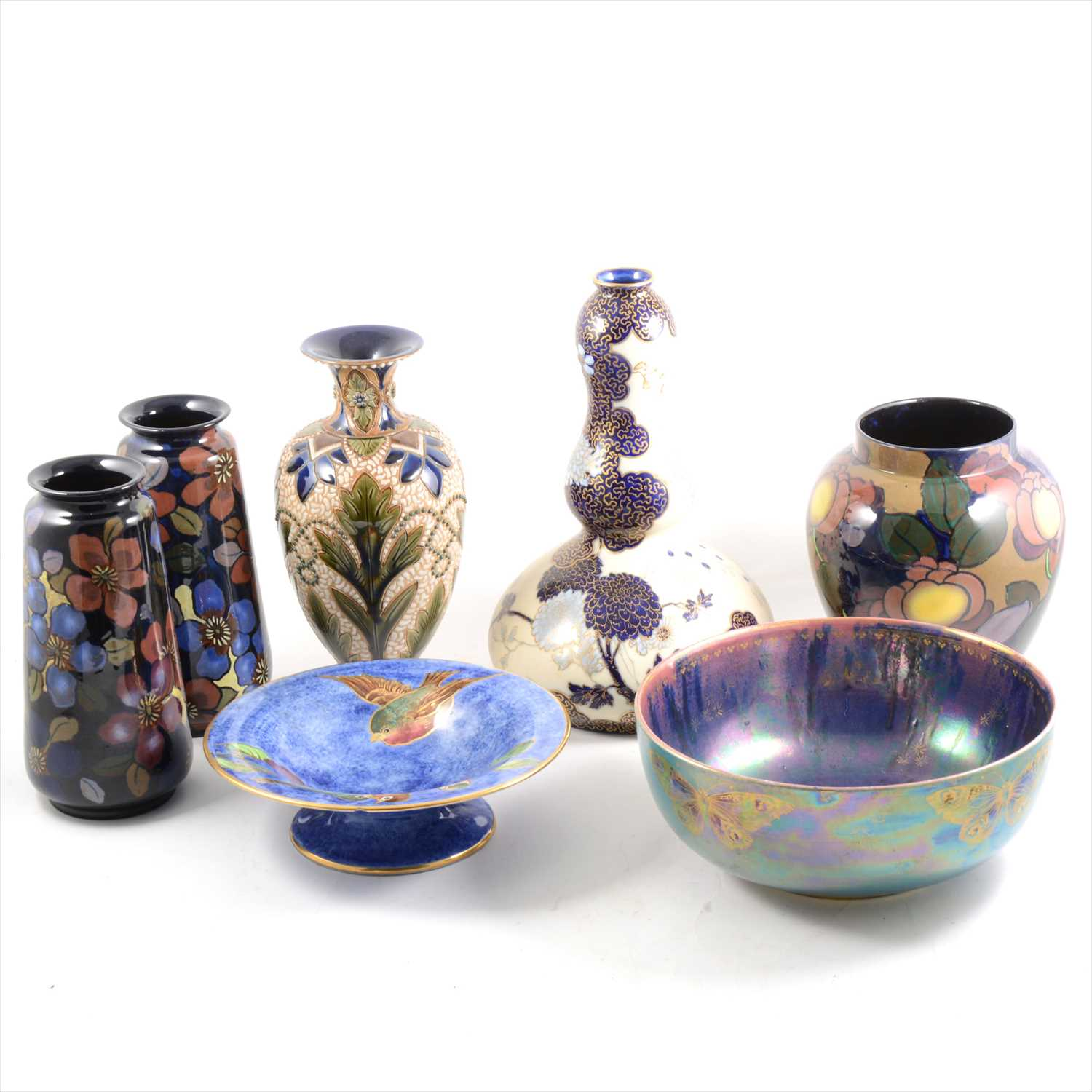 Lot 14-A pair of Royal Stanley 'Jacobean' pattern vases, and other Art Pottery ware