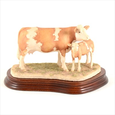 Lot 47-Border Fine Arts - Simmental Cow and Calf, limited edition 605/1500, boxed.