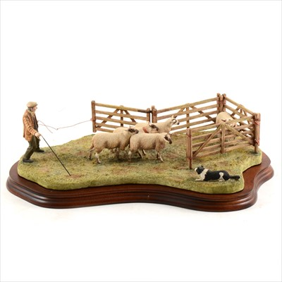"""Lot 49-Border Fine Arts - """"Anxious Moment - Penning Sheep"""", limited edition 320/1750."""
