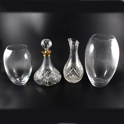 Lot 33-A pair of Orrefors glass decanters, a pair of Thomas Webb square cut-glass decanters, etc