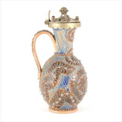 Lot 21-A Doulton Lambeth stoneware ewer, decorated by Frank Butler, 1878.