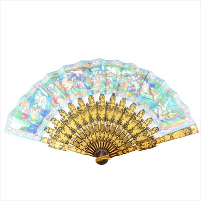 Lot 242 - Two Chinese folding fans, plus two octagonal rigid fans.