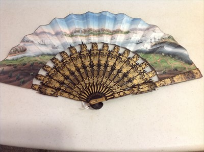 Lot 242-Two Chinese folding fans, plus two octagonal rigid fans.