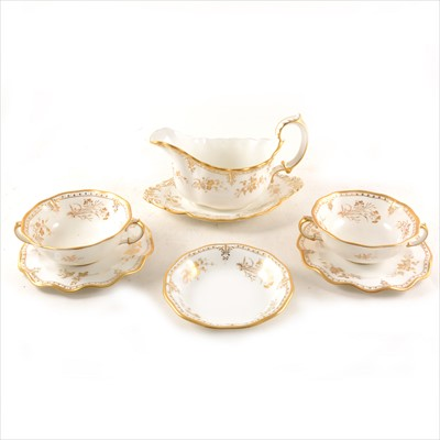 """Lot 53-Royal Crown Derby """"Royal St James"""" part dinner service, and three French decorative plates/ dishes"""