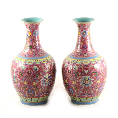 Lot 46-A pair of Chinese famille rose vases