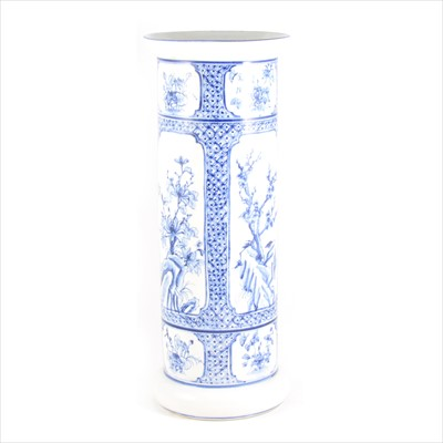 Lot 63-A blue and white painted porcelain stick stand/ floor standing vase