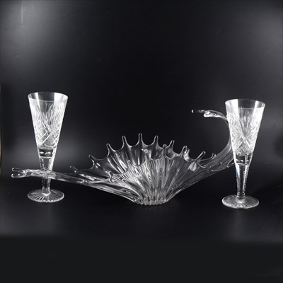 Lot 53-A large contemporary 'Splash-form' glass centrepiece, trio of bowls and drinking glasses.