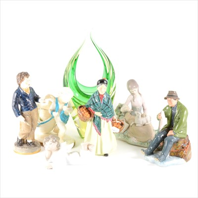 Lot 54-Assorted decorative ceramics and an Art Glass vase