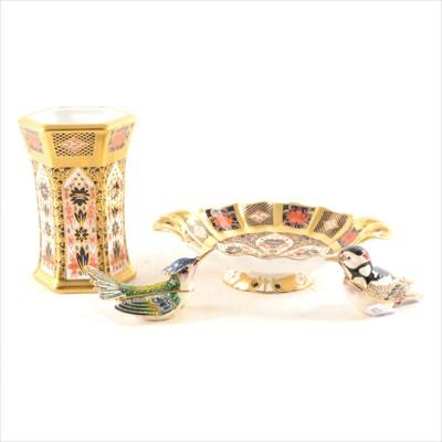 Lot 23-A Royal Crown Derby Imari hexagonal vase, similar dish, and two enamel bird trinket pots