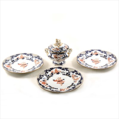 Lot 56-A small quantity of BB New Stone Imari pattern plates, plus soup bowl with lid and meat platter.