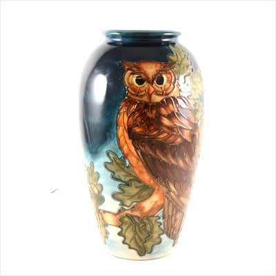 Lot 1-An 'Eagle Owl' limited edition vase, designed by Sally Tuffin for Moorcroft Pottery