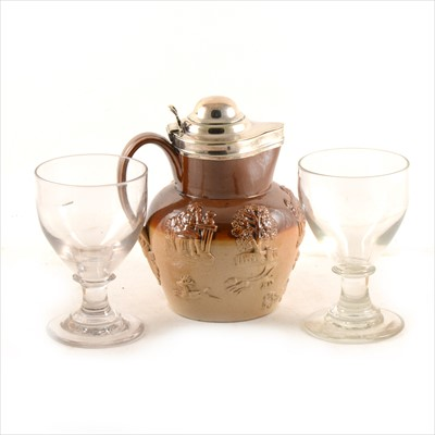 Lot 16-Two Victorian rummers and an earthenware jug with silver-plated lid.