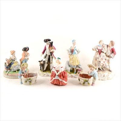 Lot 42-Seven figurines, including Dresden, Royal Doulton etc.