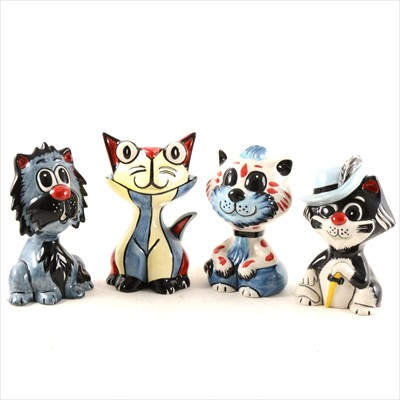 Lot 10-Four Lorna Bailey pottery novelty cats