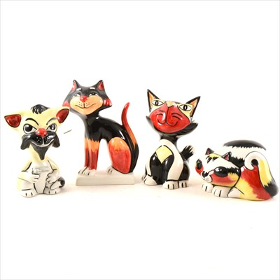 Lot 11-Four Lorna Bailey pottery novelty cats