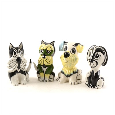 Lot 12-Four Lorna Bailey pottery novelty cats and dogs