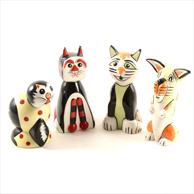 Lot 13-Four Lorna Bailey pottery novelty cats and dogs