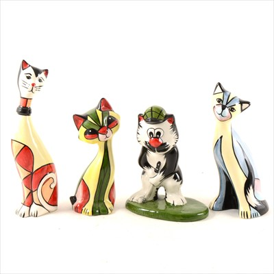 Lot 15-Four Lorna Bailey pottery novelty cats