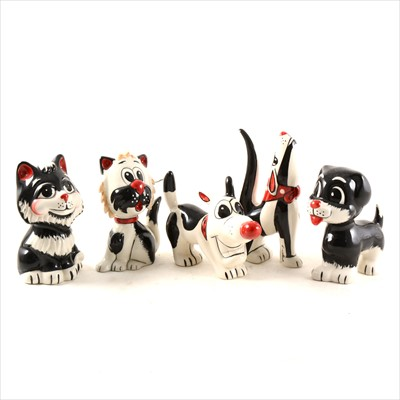 Lot 14-Five Lorna Bailey pottery novelty cats and dogs