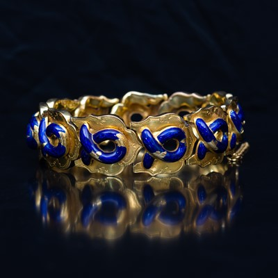 Lot 93-A mid 19th Century yellow metal and enamel bracelet.