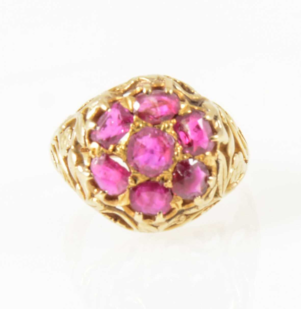 Lot 28-A vintage ruby cluster ring.