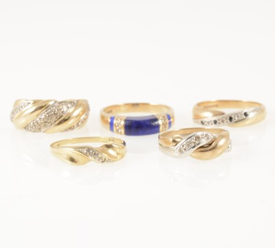 Lot 48-Five various modern gemset rings and one gold ring.