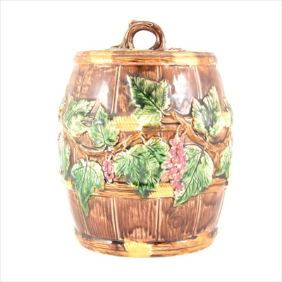 Lot 10-A 19th Century Majolica barrel and cover, possibly George Jones