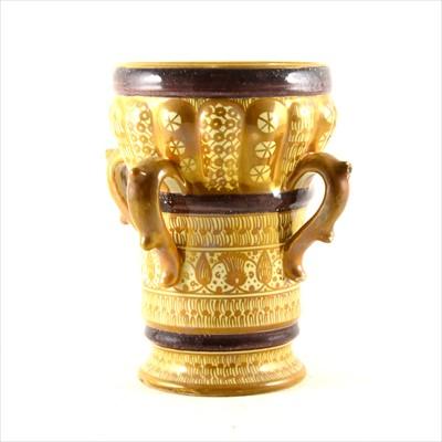 Lot 1-An Italian maiolica four-handled vase, by Cantagalli