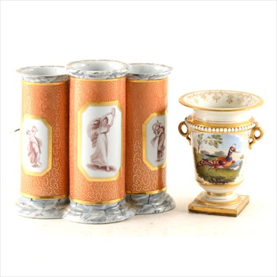 Lot 6-An English porcelain garniture vase, probably Derby, circa 1820; and a Chamberlain's type triple spill vase