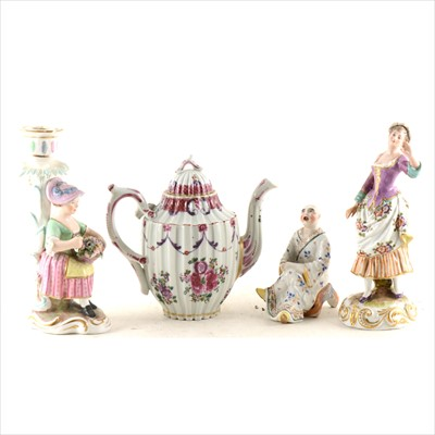 Lot 12-A French porcelain teapot, probably Samson, Paris; and other Continental ceramics