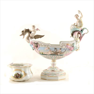Lot 14-A Meissen bowl, reserves painted in the manner of Heroldt; and a Capodimonte style boat shape comport
