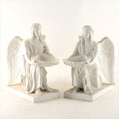 Lot 5-Two similar Copenhagen parian models of kneeling angels, after Bertel Thorvaldsen