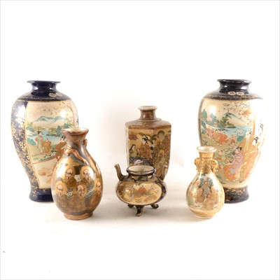 Lot 16-A Satsuma vase, of hexagonal section, decorated with immortals, and other Satsuma ware