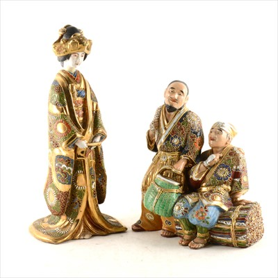 Lot 26-Japanese Karga type group of two figures, and a figure of a Geisha