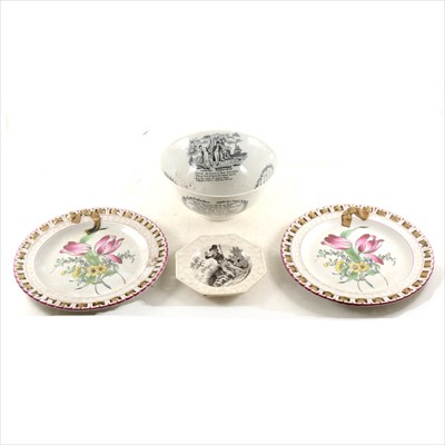 Lot 19-A Staffordshire octagonal nursery plate, Sailor's Farewell basin, and two plates