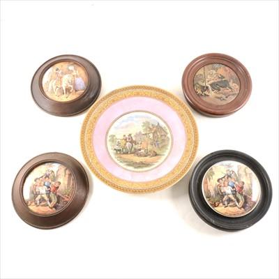 Lot 33-A collection of Prattware pot lids, some framed