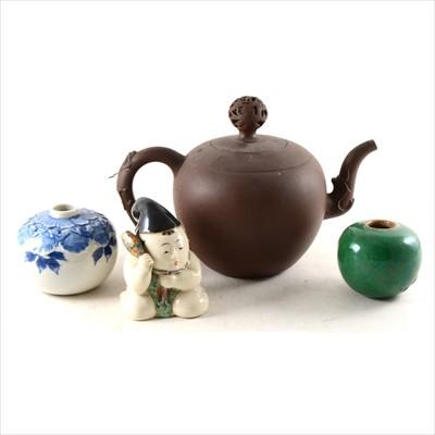 Lot 4-A Yongzheng type Redware teapot, two brush pots, and a Japanese figure