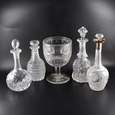 Lot 32-A quantity of glassware, including a silver-collared decanter