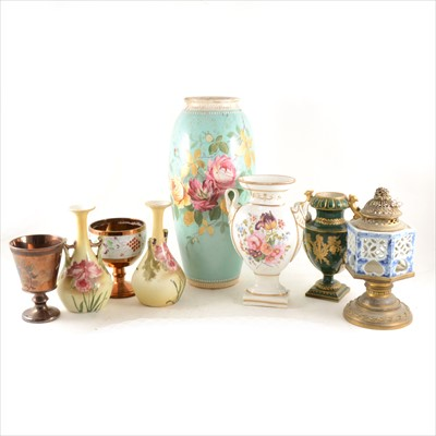 Lot 35-A copper lustred goblet and other decorative ceramics