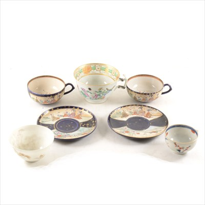 Lot 36-Two Satsuma teacups and saucers, two Imari chargers, etc