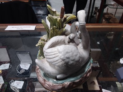Lot 21-Meissen porcelain group, swans and cygnets