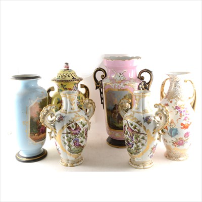 Lot 40-French porcelain two-handled vase, pink ground, and five other vases